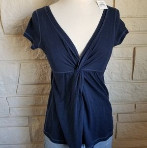 Abercrombie NWT Navy Blue Twist V Neck Tee Top